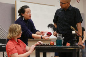 Cynthia Stokes, Bridget Marlow, and Octavio Moreno in rehearsal