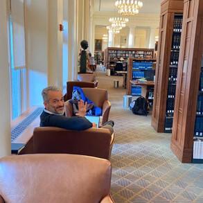 John Milbauer in Harvard Law Library