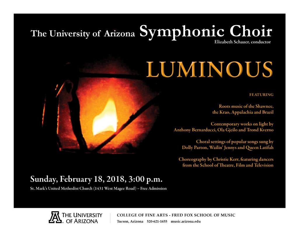 "LUMINOUS"" – UA SYMPHONIC CHOIR – Fred Fox School of Music"