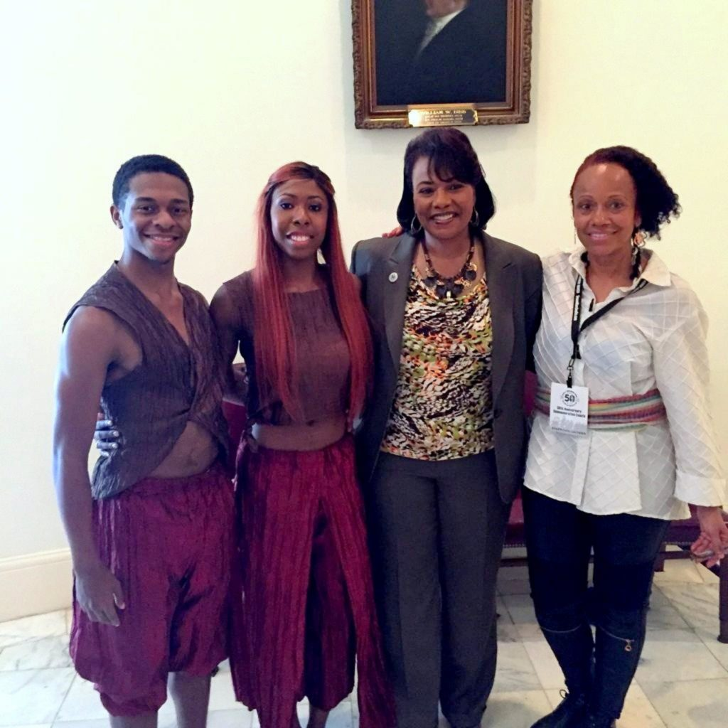 Left to right: UA Dance Ensemble members Kevyn Butler and Kennedy Thomas, Bernice King, UA Dance faculty member Barbea Williams at the 50th anniversary commemoration of the Selma to Montgomery March in Alabama